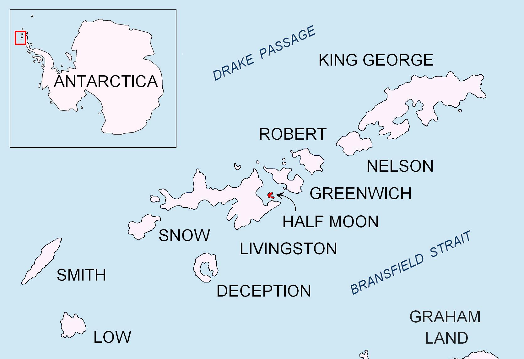Mappa dell'isola Mezza Luna (Half Moon) - isole Shetland meridionali