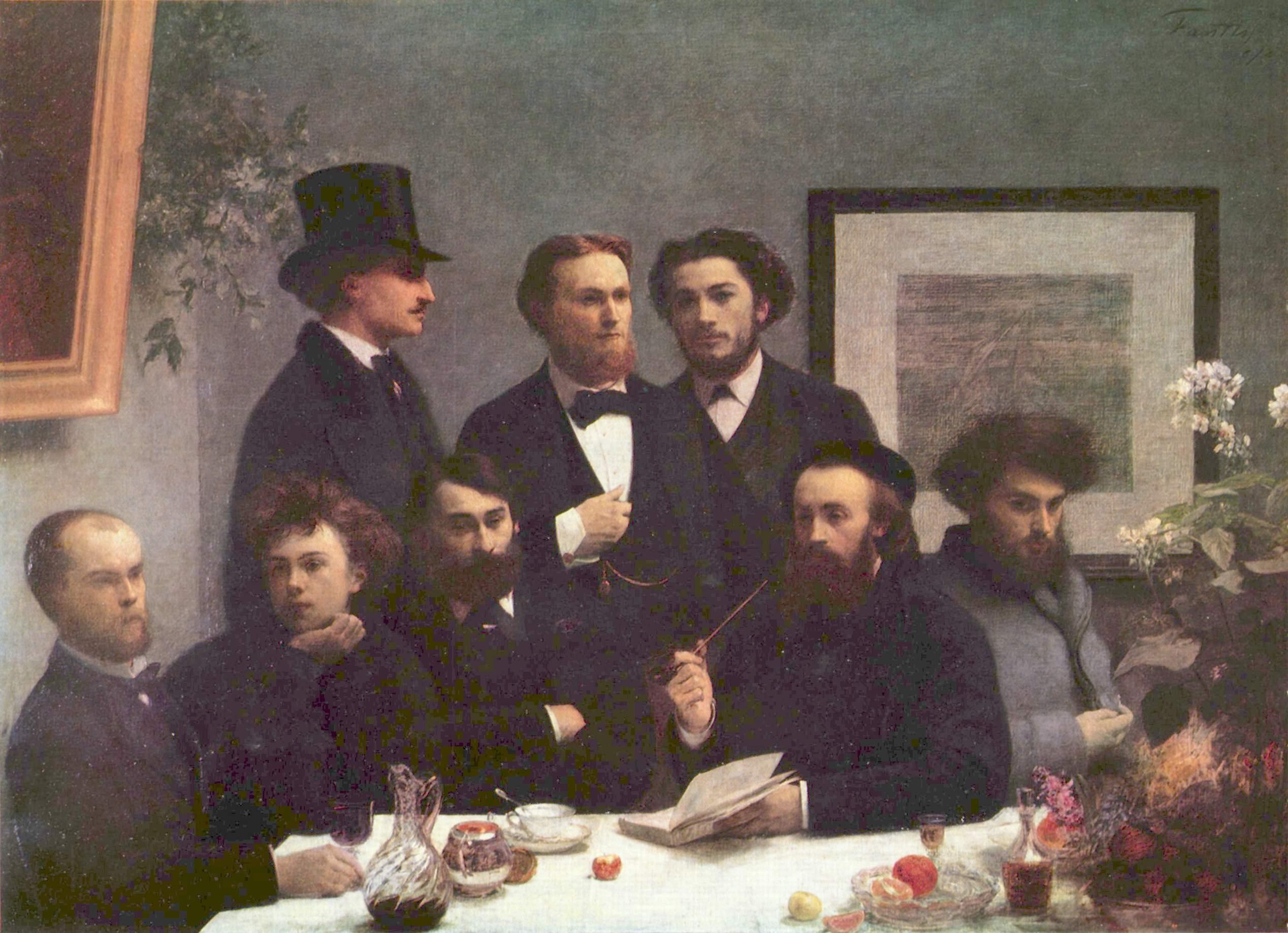 El cuadro Un rincón de la mesa (1872), de Henri Fantin-Latour: a la izquierda aparecen sentados Verlaine (casi calvo) y Rimbaud (con el cabello revuelto).