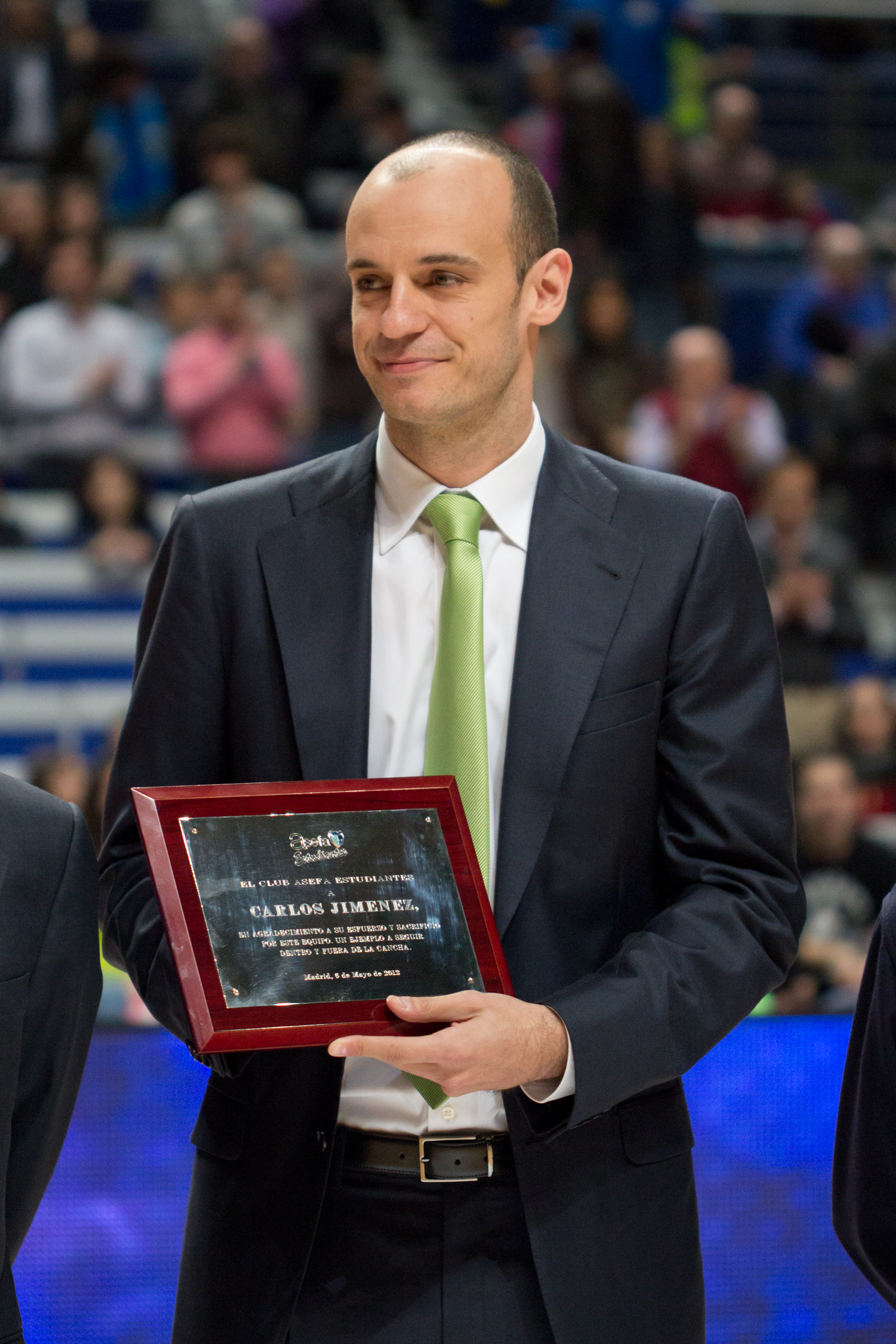 Hommage to Carlos Jiménez on February 2013 before the game between Estudiantes and Unicaja, the two clubs for which he played.