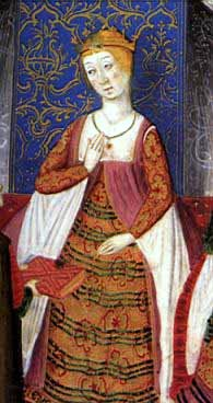 Isabella in the Rimado de la Conquista de Granada, from 1482, by Pedro Marcuello