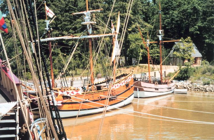 Reconstructed ships at the Jamestown settlement site along the James River in Virginia