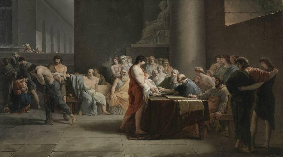 Jean-Pierre Saint-Ours - Gericht über die Neugeborenen Spartas - 2358 - Bavarian State Painting Collections.jpg