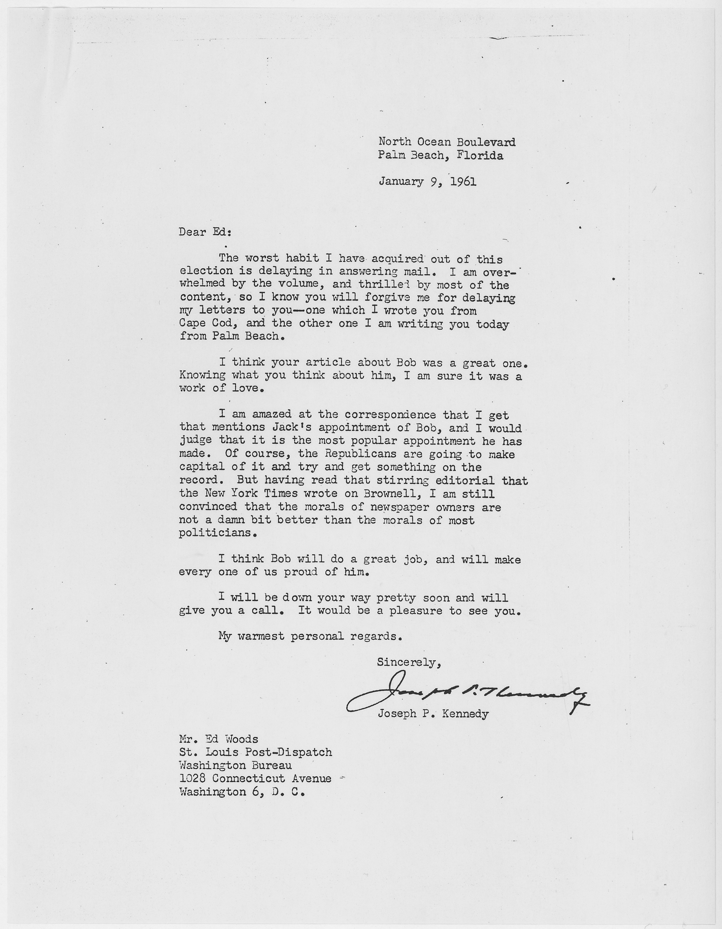 Filejoseph p kennedy letter on robert f kennedys appointment filejoseph p kennedy letter on robert f kennedys appointment as attorney general altavistaventures Images