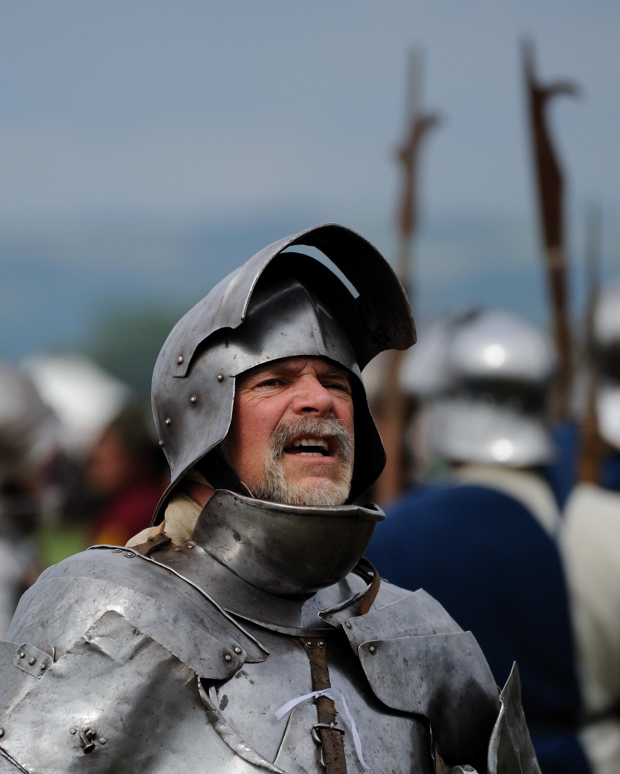 Head shot of a knight in shining armor