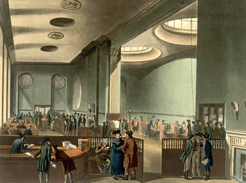 The subscription room at Lloyd's of London in the early 19th century.