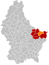 Map showing, in orange, the Echternach commune'