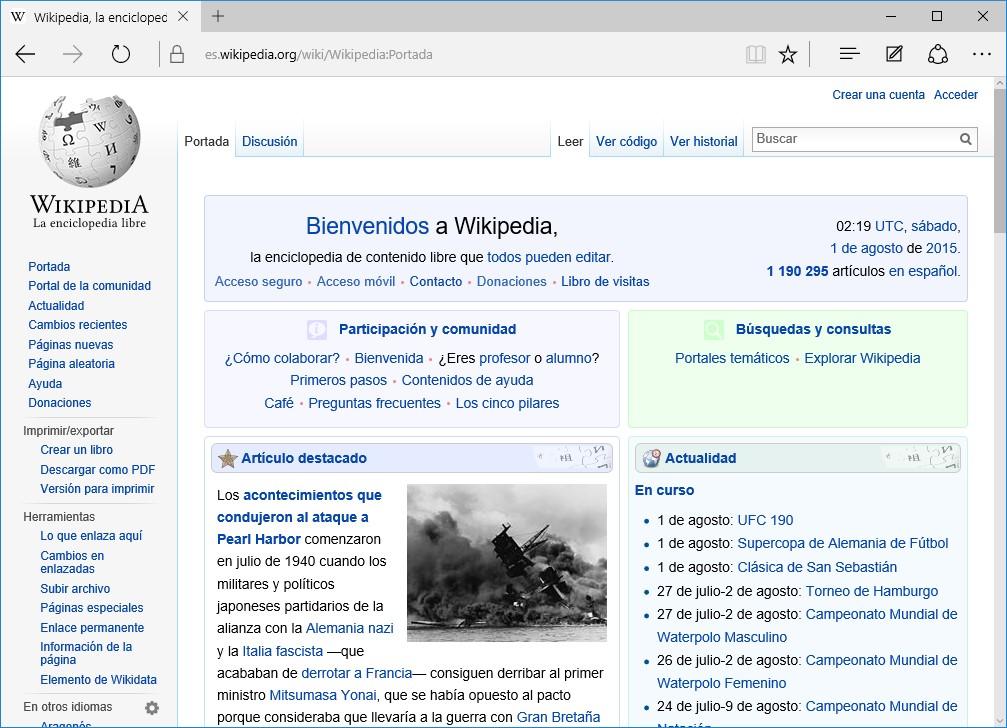 Microsoft Edge Wikipedia La Enciclopedia Libre