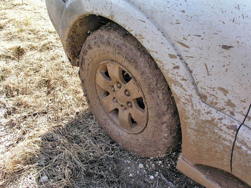 Muddy car tire