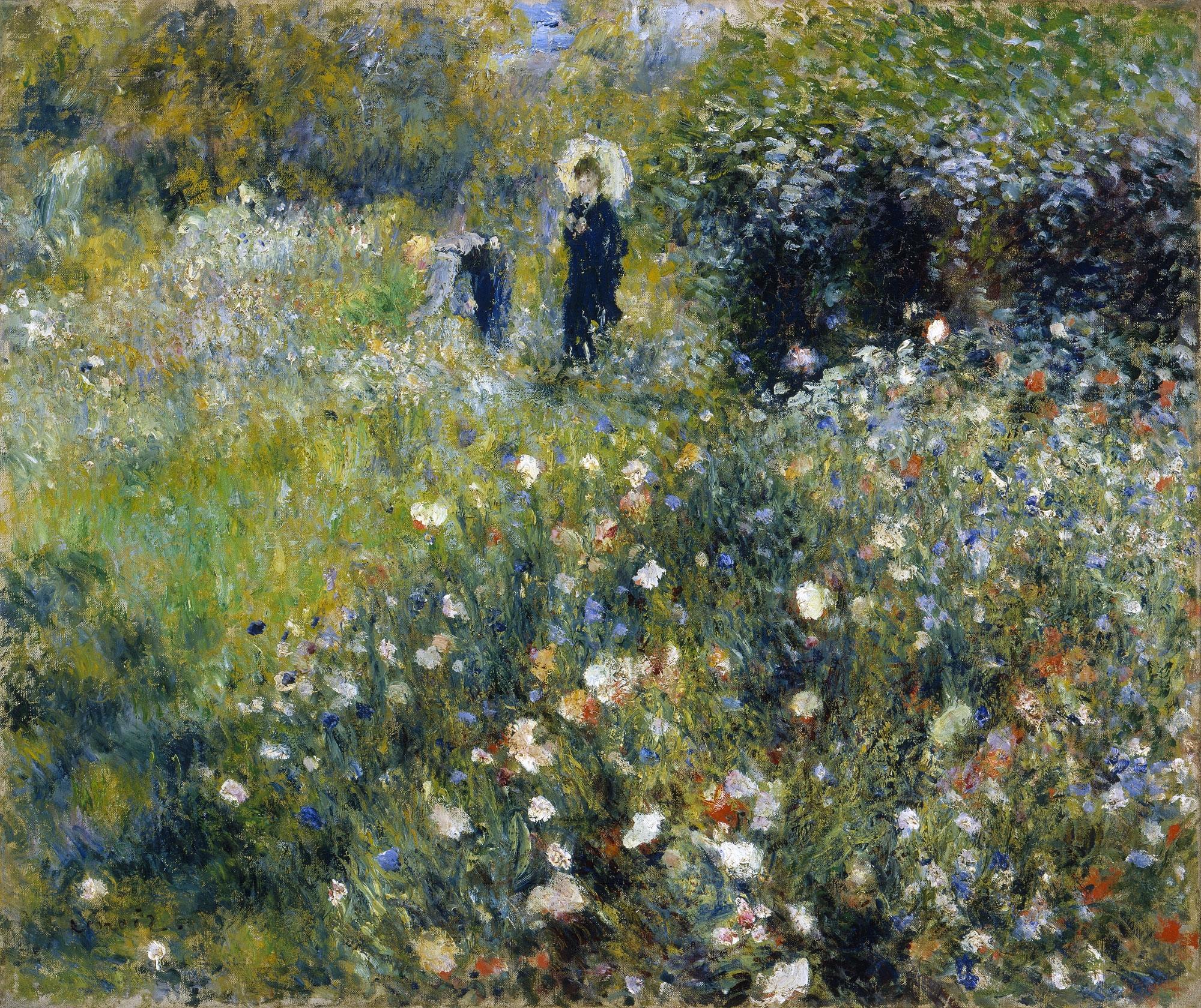 Resultado de imagen de Mujer con sombrilla en un jardín,