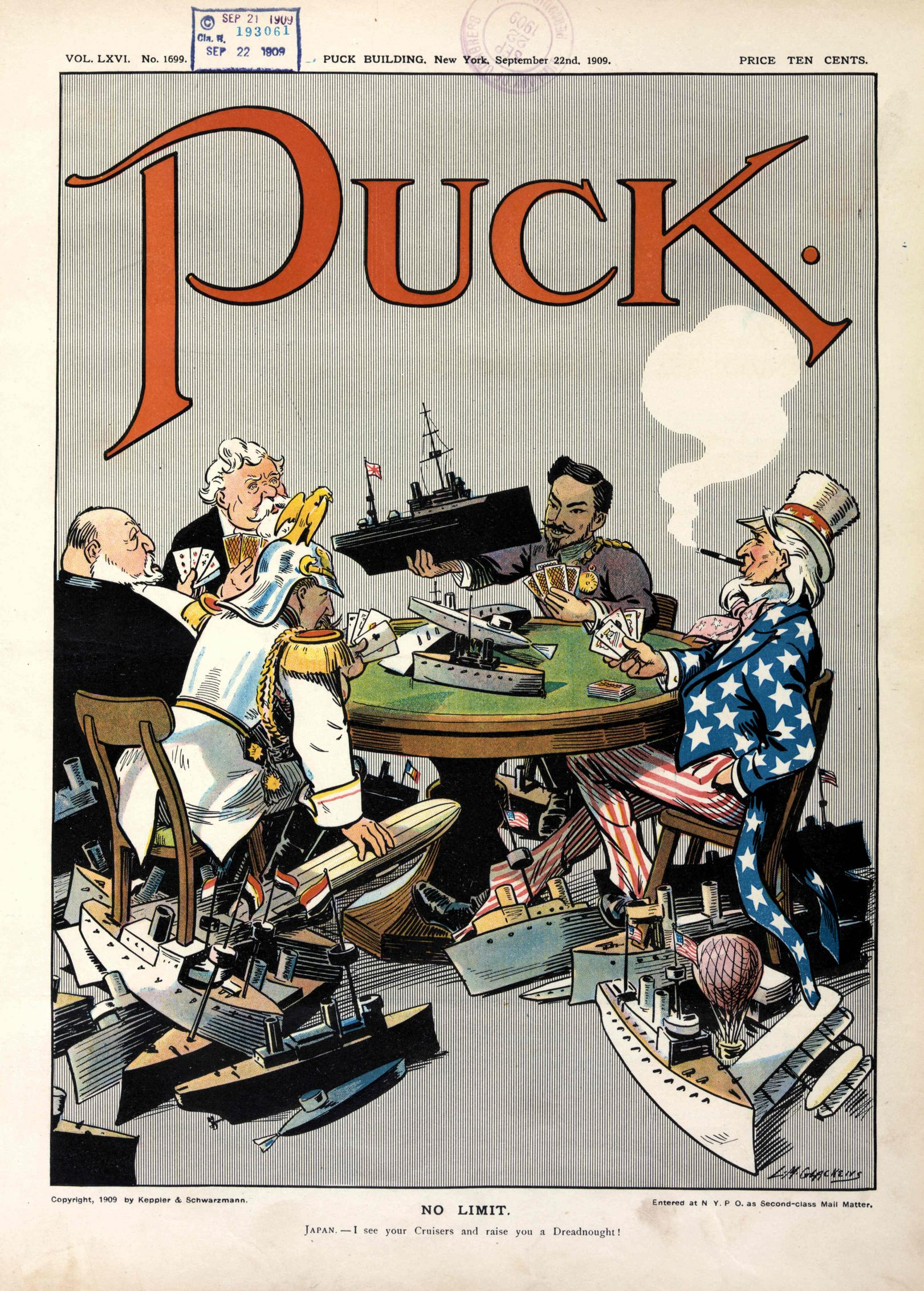 "1909 cartoon in Puck shows (clockwise) US, Germany, Britain, France and Japan engaged in naval race in a ""no limit"" game. Naval-race-1909.jpg"