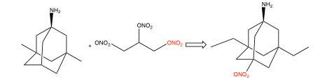 Figure 7: Nitroglycerin donate ONO2 group that leads to second generation memantine analog, nitromemantine.