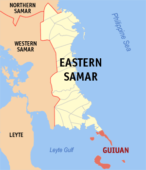 English: Map of Eastern Samar showing the loca...