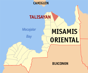Map of Misamis Oriental showing the location of Talisayan