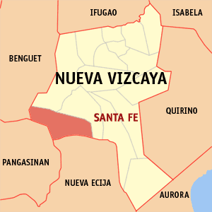 Map of Nueva Vizcaya showing the location of Santa Fe