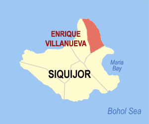Map of Siquijor showing the location of Enrique Villanueva