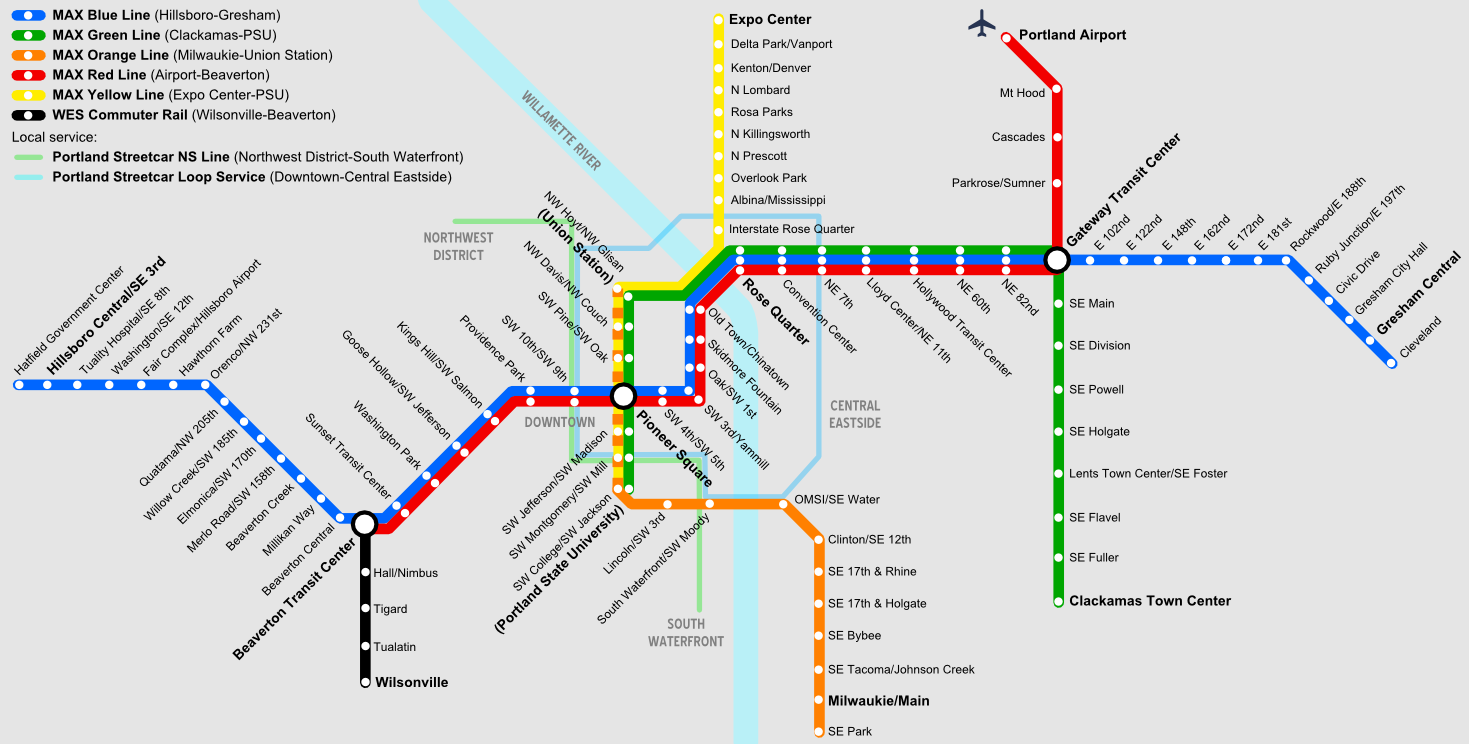 Portland Light Rail Map File:Portland rail map.png   Wikimedia Commons