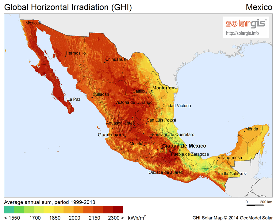 Solar Power In Mexico Wikipedia - Solar power map us