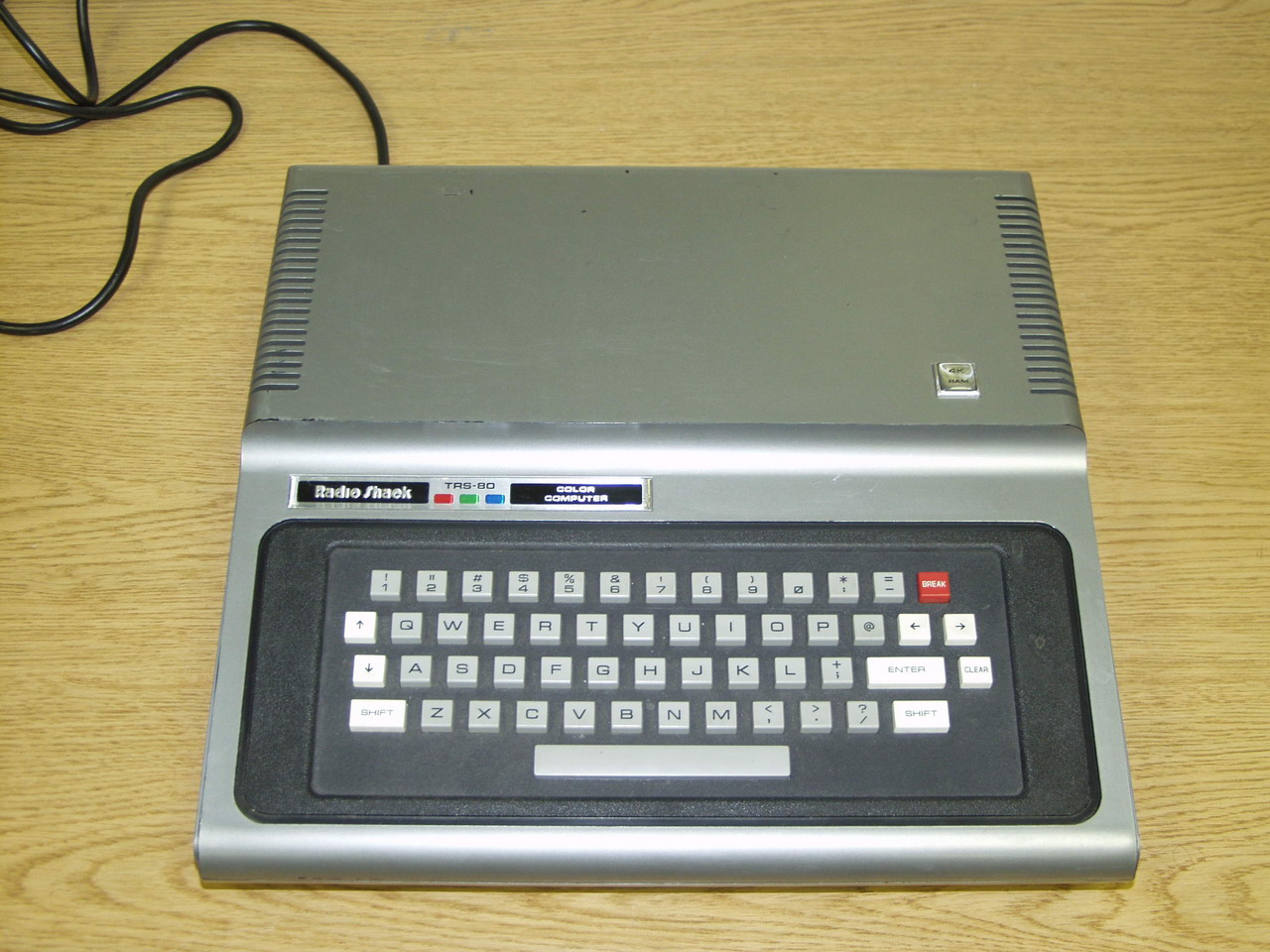 The first TRS-80 Color Computer released, model 26-3001. Features 4K RAM and Color BASIC by Microsoft in 1981. 02:55, 18 November 2005 . . Lamune (Talk)