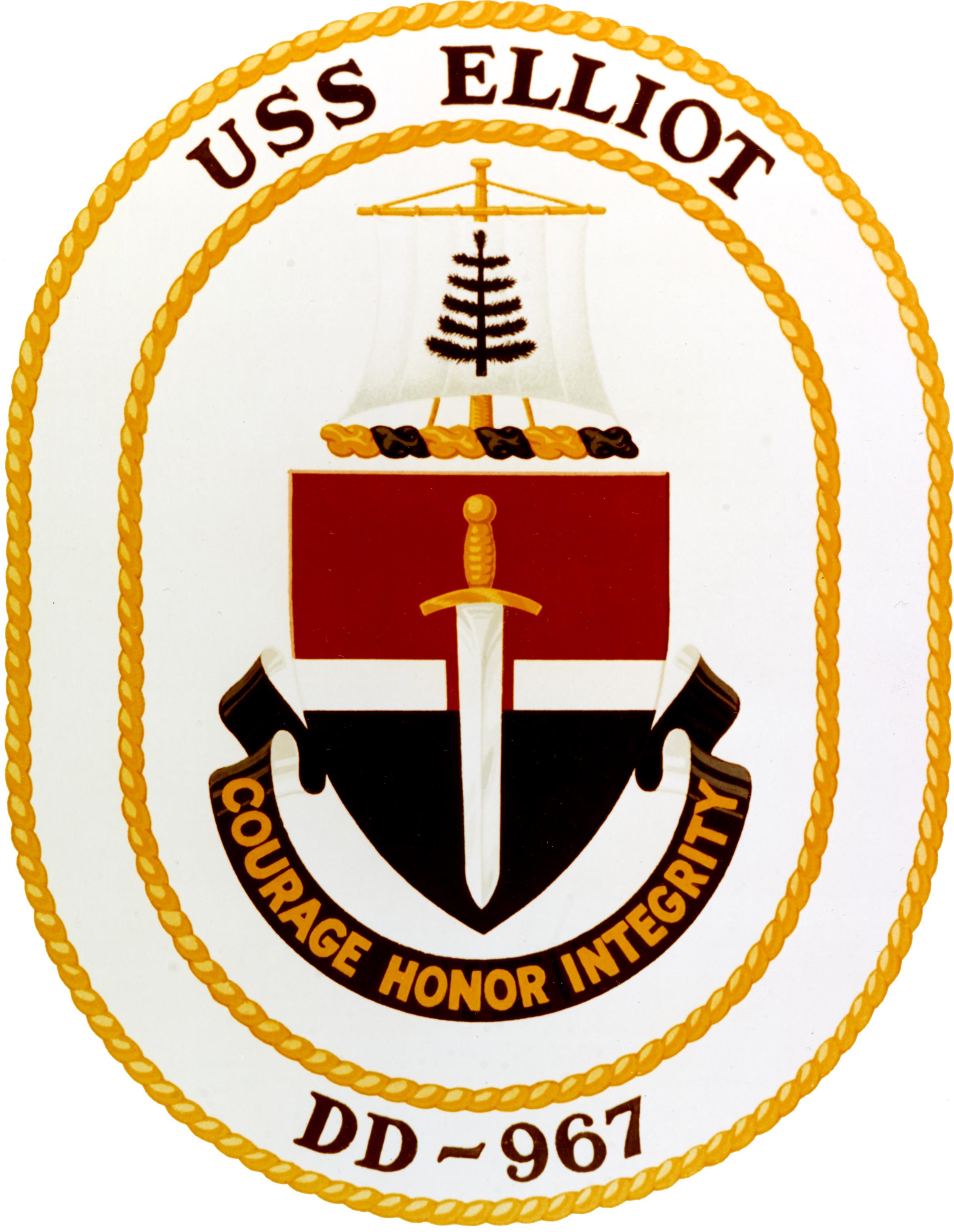File:USS Elliot (DD-967) insignia, circa 1976 (NH 85499