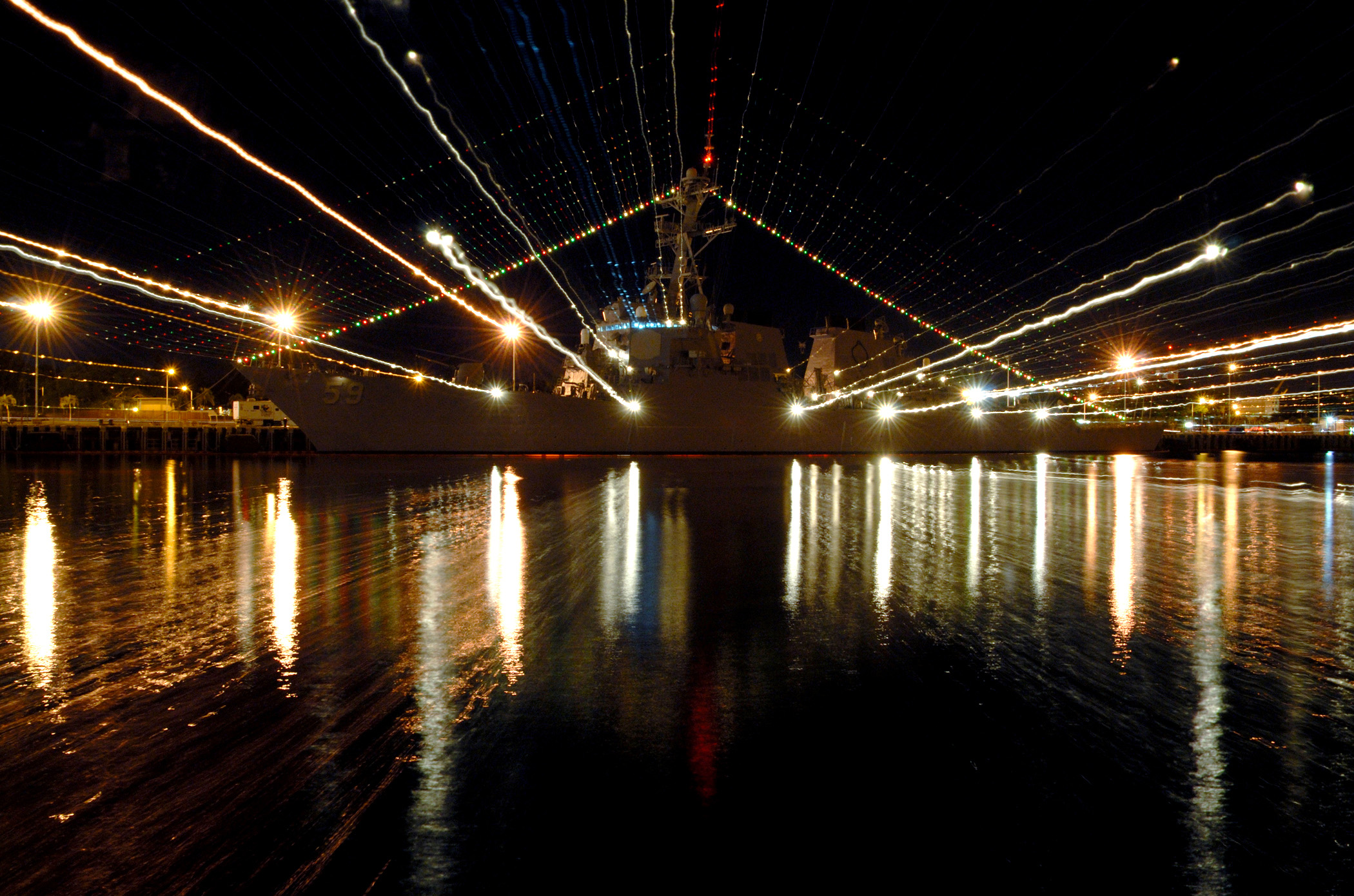 File:US Navy 061220-N-4965F-003 Holiday lights shine from ...
