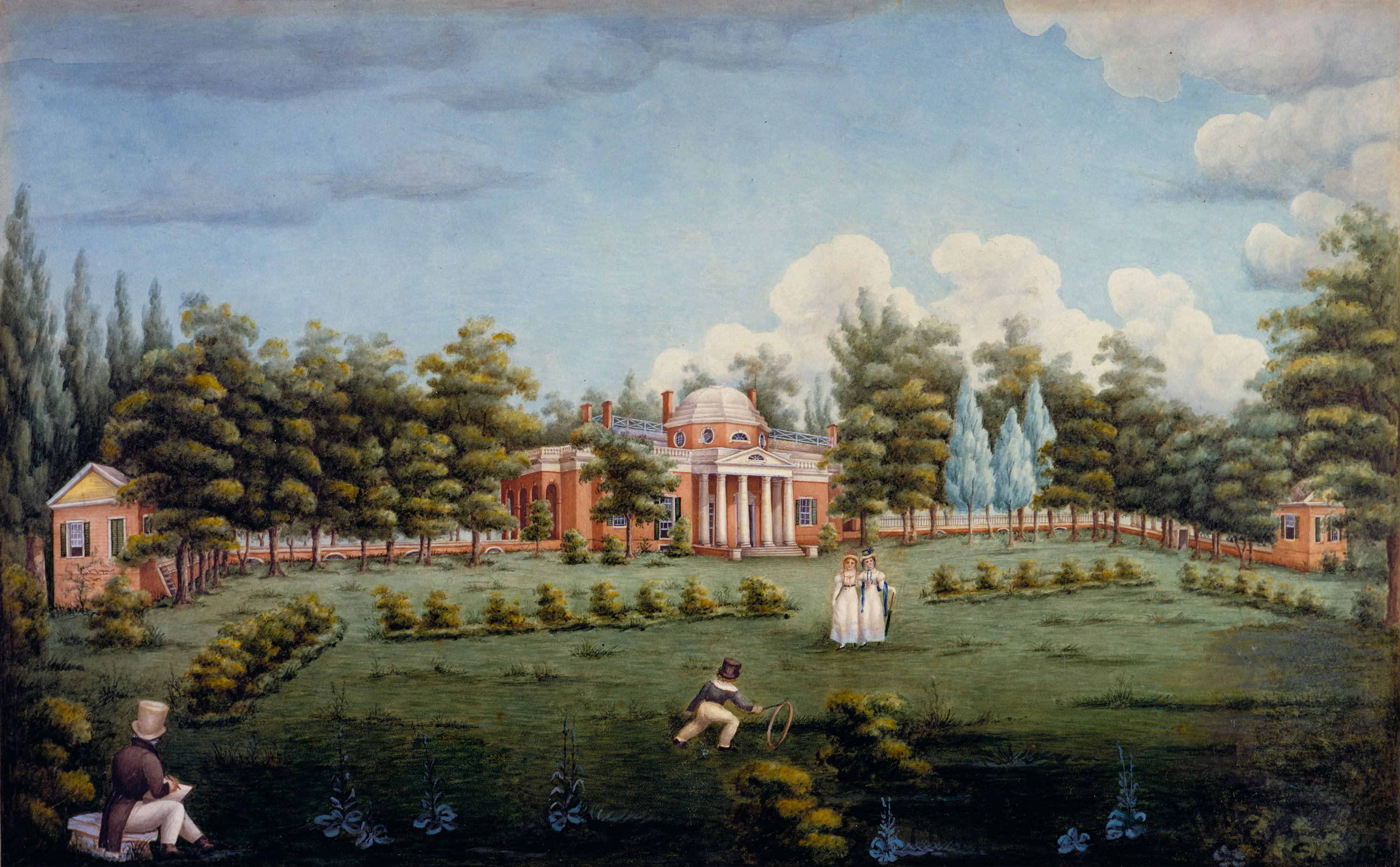 File:View Of The West Front Of Monticello And Garden, Depicting Thomas  Jeffersonu0027s Grandchildren