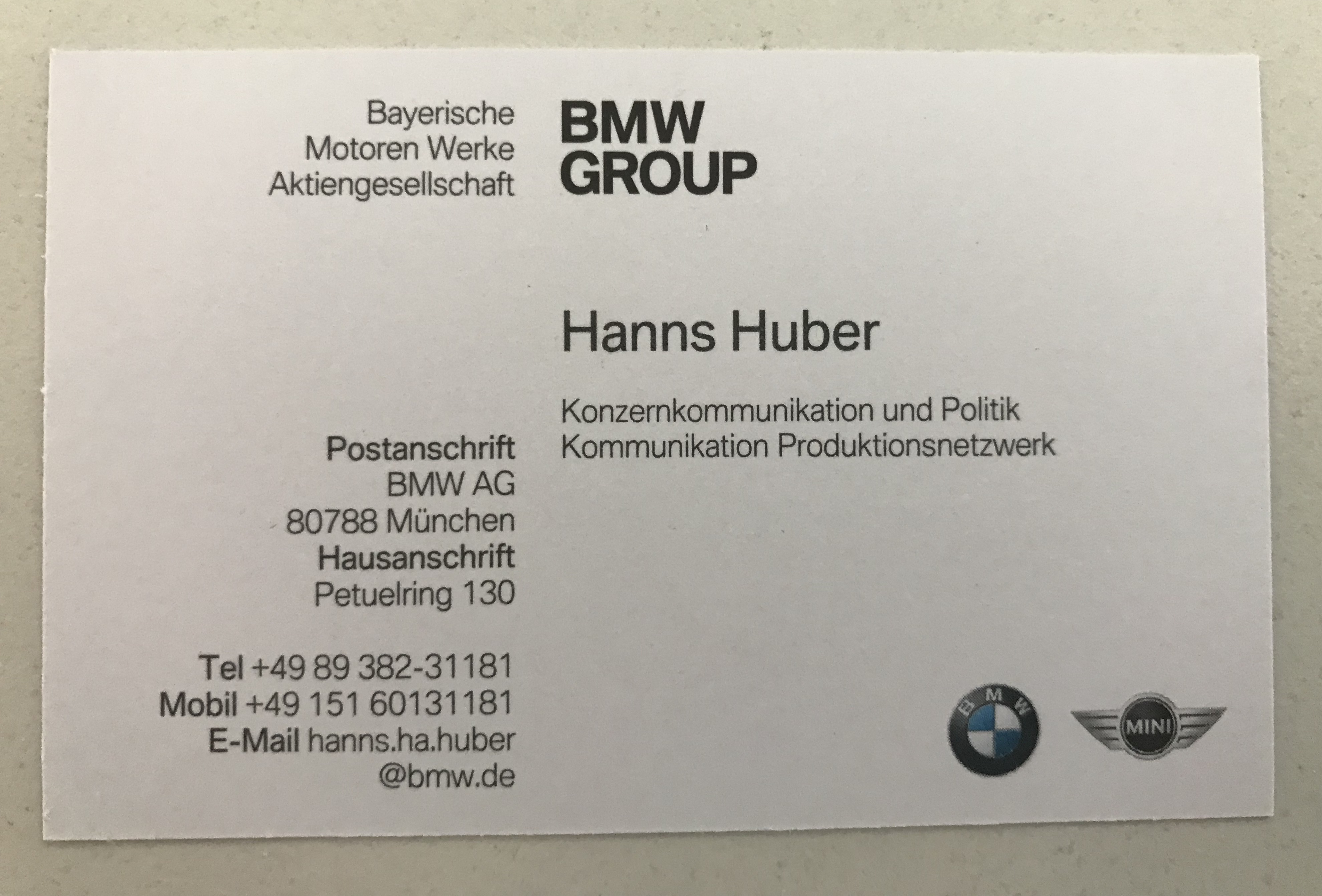 Datei Visitenkarte Hanns Huber Bmw Group Jpg Wikipedia