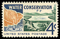 United States 1960 postal stamp advocating water conservation.