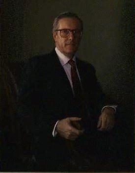 The official portrait of William E. Brock hang...