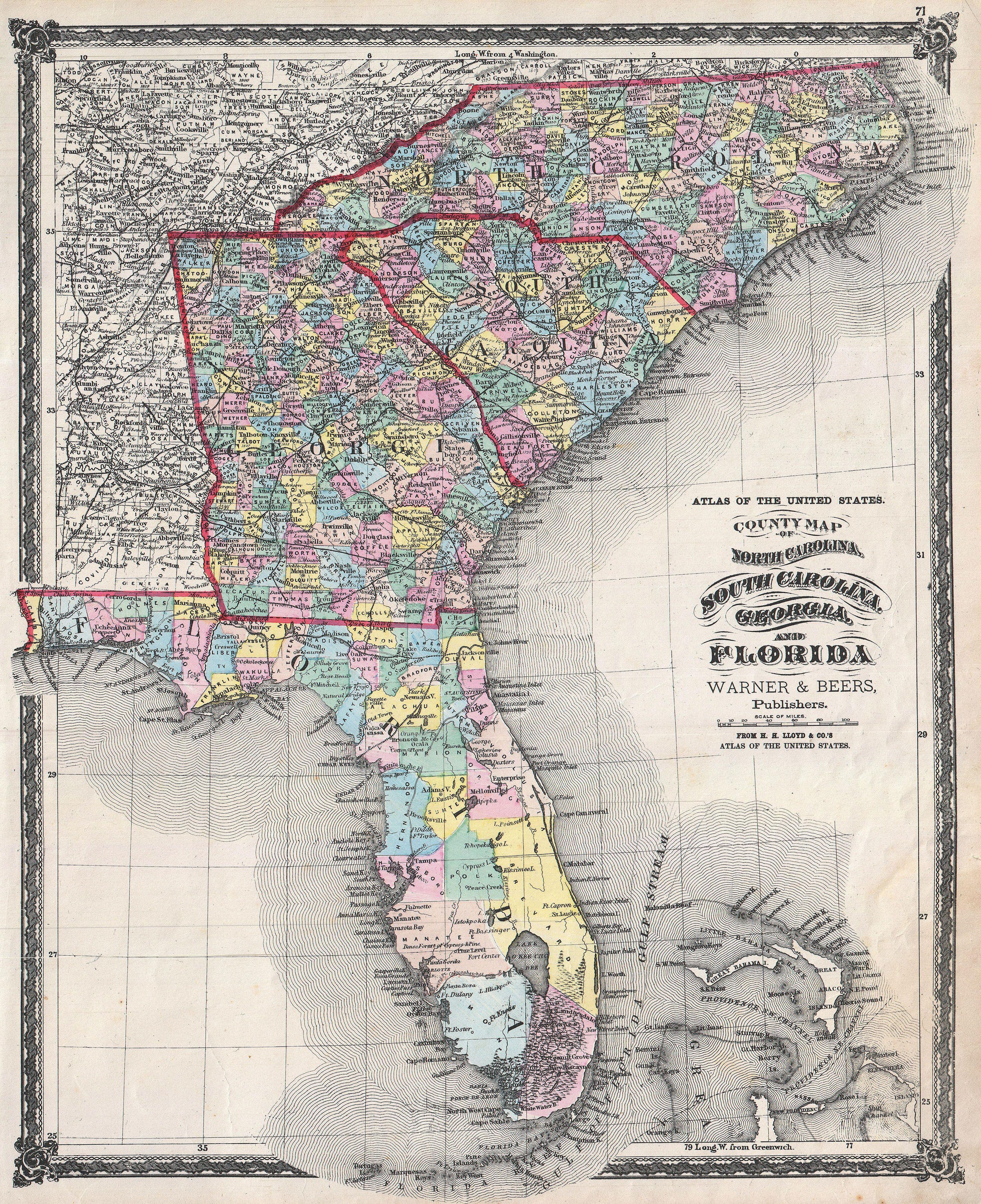 File1874 Beers Map Of Florida Georgia North Carolina