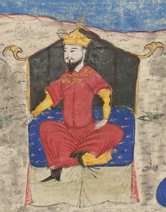 Alp Arslan on throne Majma al-Tawarikh by Hafiz Abru (cropped).png