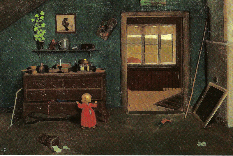 Interior, Little girl by the chest of drawers