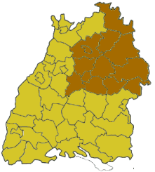 Map of Baden-Württemberg highlighting the Regierungsbezirk of Stuttgart