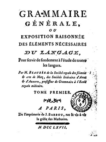 Beauzée - Grammaire générale (Titre)