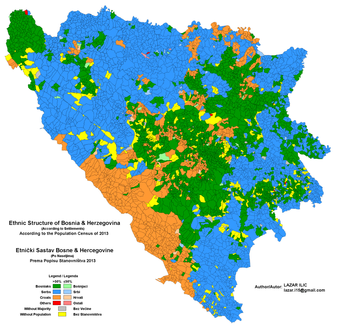 Ethnic Make Up Of Bosnia And Herzegovina According To The - Bosnia and herzegovina map
