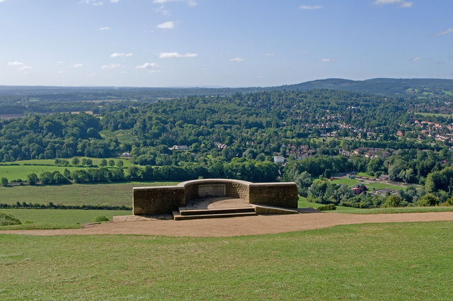 Salomon's Memorial viewpoint at Box Hill, Surrey. Views over Dorking and Leith Hill.