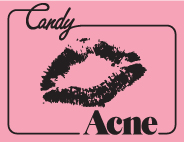 English: candy acne logo collaboration