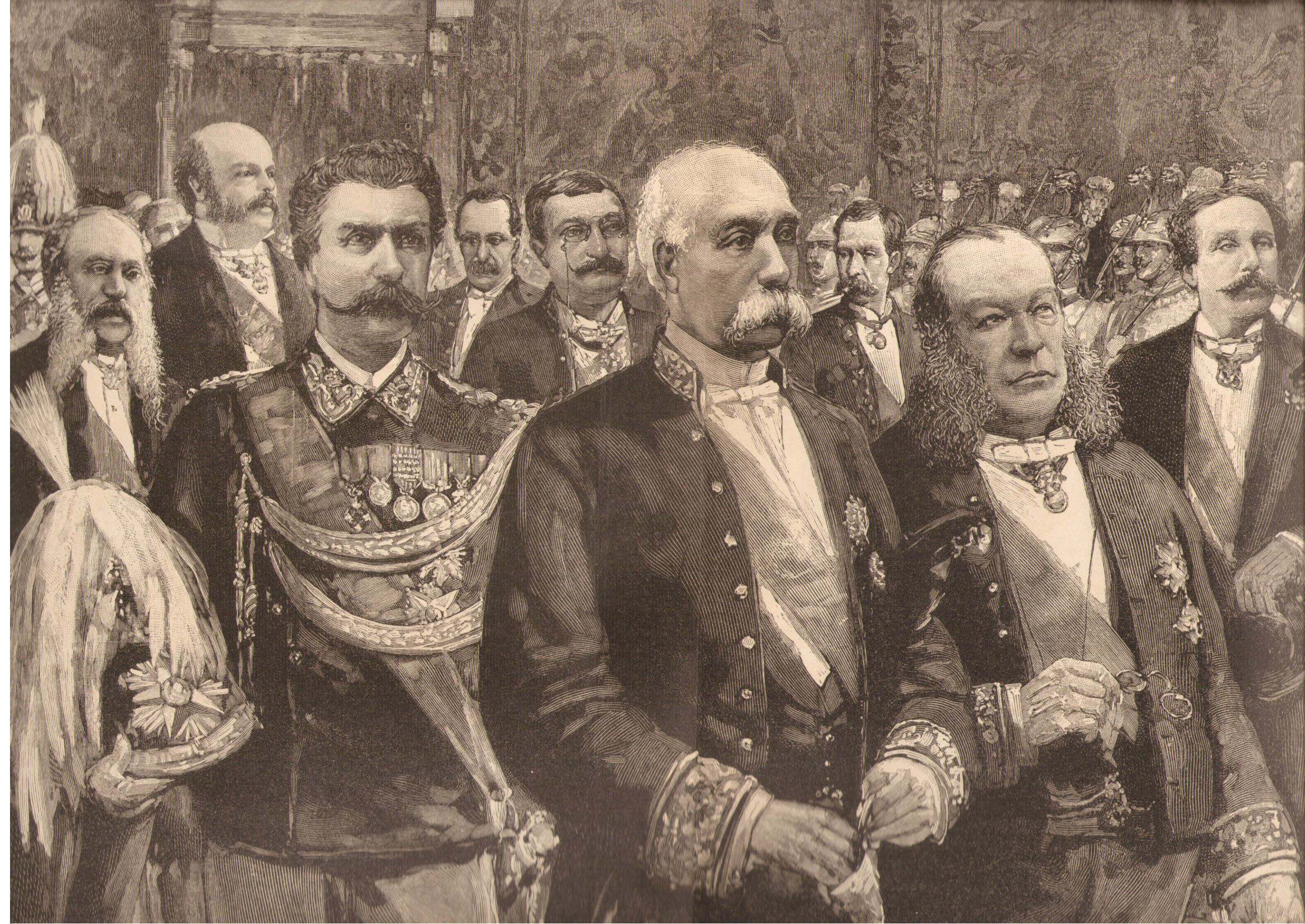 Francesco Crispi (au centre), en 1888. C'est l'un des chantres du colonialisme italien.