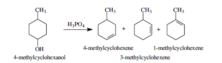 results of dehydration of 2 methylcyclohexanol Dehydration of 2-methylcyclohexanol -- an e 1 reaction  information given in  the previous 3 slides as gc results to calculate overall % yield for the reaction.