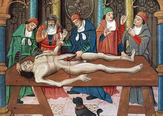 Pintura del s. XV sobre la disección de un cadáver