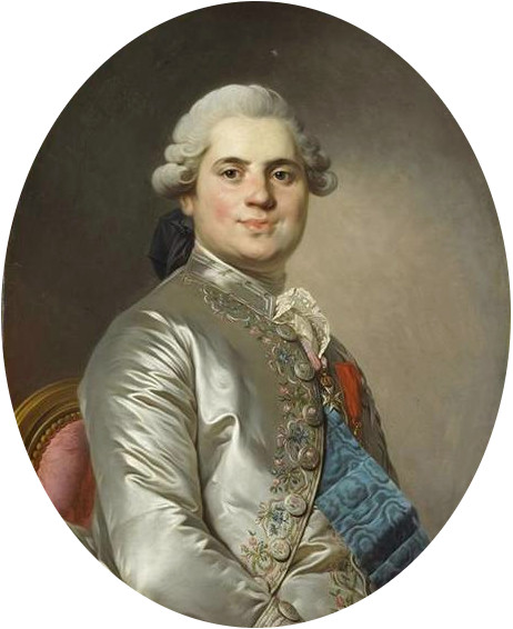 Louis Stanislas, Count of Provence, during the reign of Louis XVI of France. Duplessis - The Count of Provence (future Louis XVIII), Musee Conde.jpg
