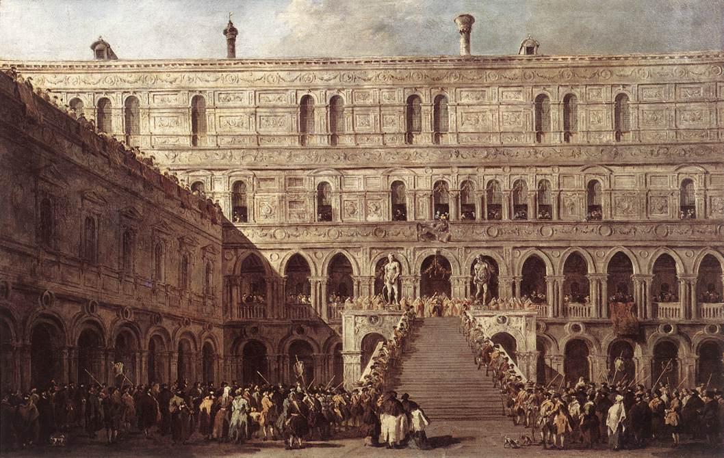 Le Couronnement du doge de Venise sur l'escalier des Géants au palais ducal de Venise