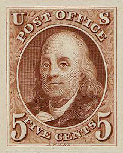 Franklin on the first US Postage Stamp 1847