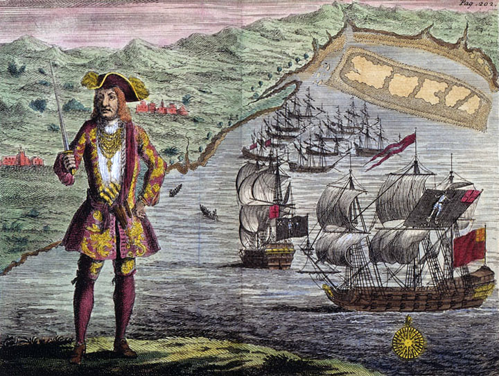Captain Bartho. Roberts with two Ships, Viz the Royal Fortune and Ranger, takes in Sail in Whydah Road on the Coast of Guiney, January 11th. 1721/2.: a copper engraving
