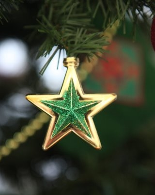 Gold star christmas ornament