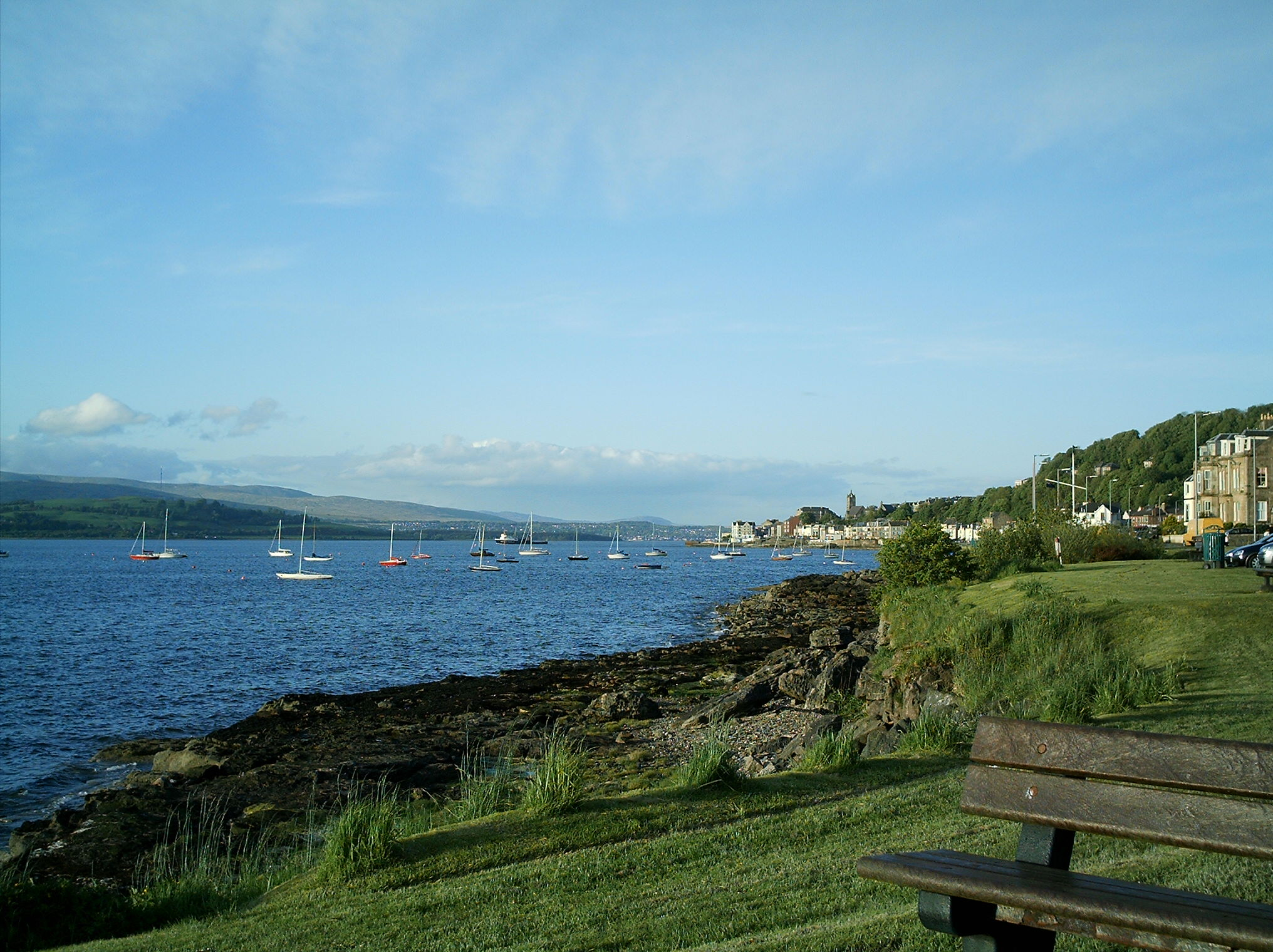 The west front looking past the Royal Gourock Yacht Club to the pierhead.