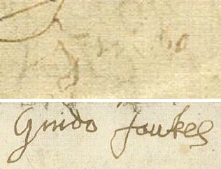 The contrast shown between Guy Fawkes' signatures: the one above (a faint, shaky 'Guido') was done immediately after torture; the one below eight days later. Guy fawkes torture signatures.jpg