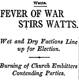 Newspaper headline, 1915 Headline from Los Angeles Times concerning strife in Watts, California, over liquor, 1915.png