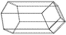 電腦繪製的蜂巢巢室模型,顯示一個六邊形管接觸在三個相等的菱形,而這三個相等菱形都交匯在巢室軸線的同一點上。