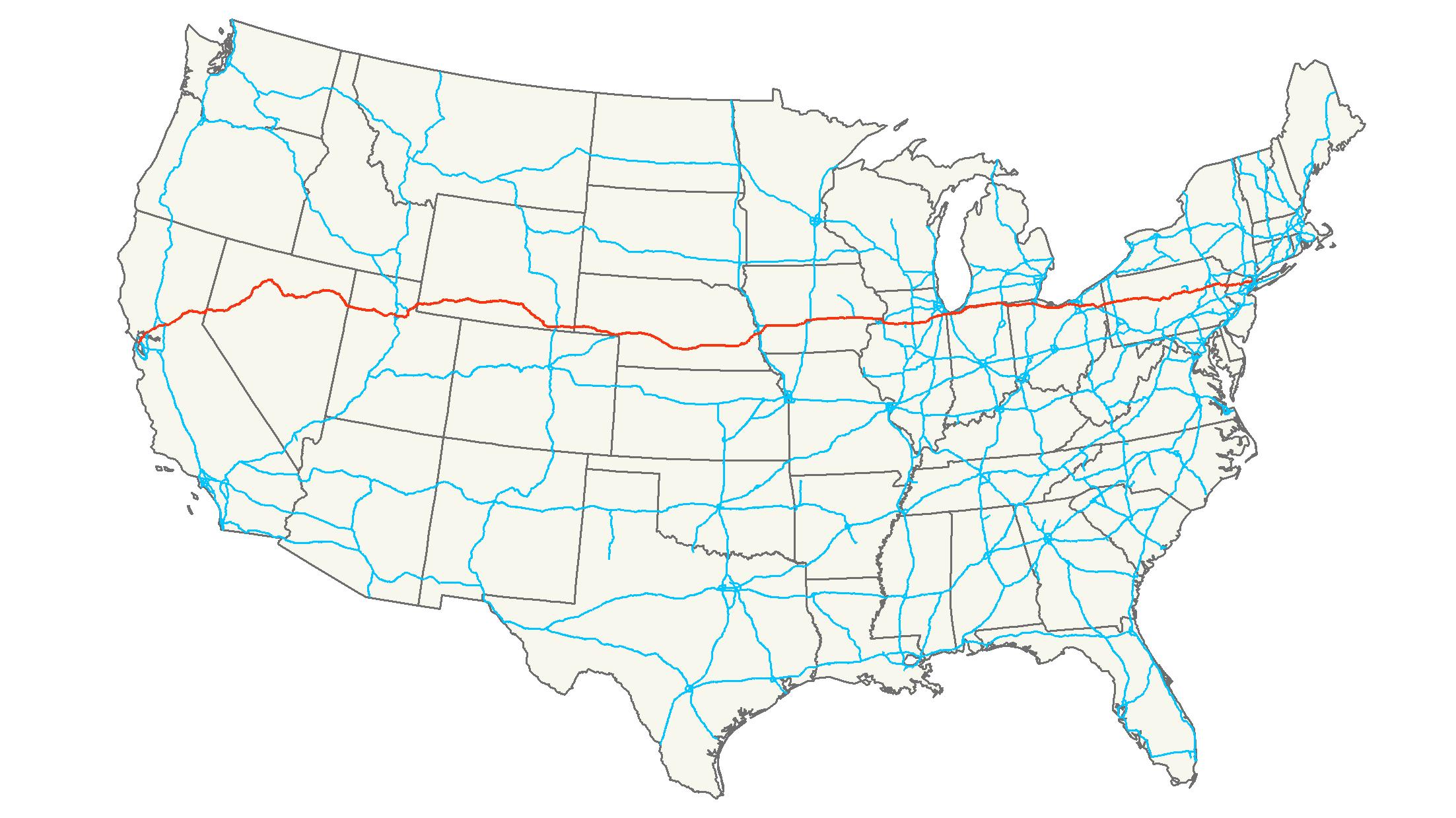 Map Usa I 80
