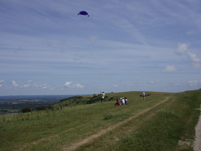 Kite flying, Ditchling Beacon - geograph.org.uk - 201488